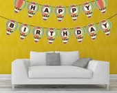 Happy Birthday Hot-air Balloon Banner - Printable PDF - Instant DOWNLOAD - DIY Party decoration