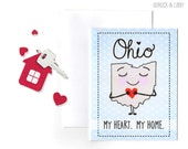 Ohio My Heart My Home Card with Envelope Blank inside