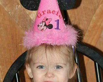 Minnie Mouse Birthday Party Hat Personalized