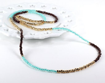 Long Beaded Necklace Mint Gold Bronze Color Block Wrap Bracelet