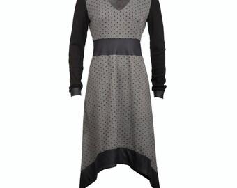 30% SALE Women jersey dress with faux leather, polka dot jersey dress, long sleeved asymmetric dress, sizes S-XL