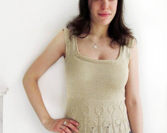 Handknit cotton tank top - beige - size small