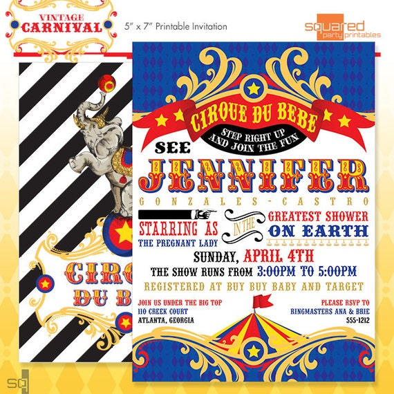 Circus Baby Shower Invitation DIY Print Vintage Cirque du Bebe