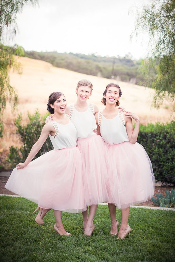 Bridesmaid dress tulle skirt adult tutu by thelittlewhitedress for Tulle skirt wedding dresses