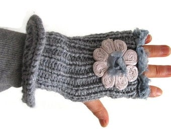 Ivory Cotton inspired Flower Fingerless Gloves, Handmade Glove, Flower Gloves, Hand warmer, Gift for her, holiday fashion,Gift under 30,