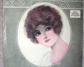 PRETTY GIRL Vintage Sheet Music 1924 Because They All Love You Brunette w/ Uke Arr.