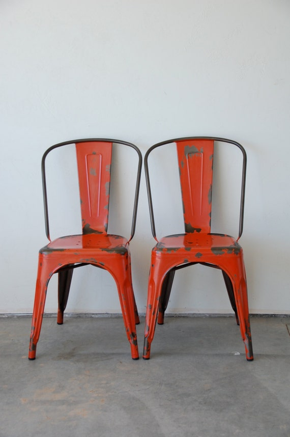 Custom Painted & Distressed Tolix Style High Back Side Chair Color of your Choice