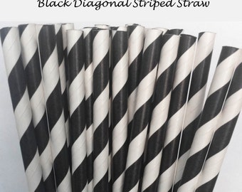 Black Striped Paper Straws (S20) with free printable DIY Toppers - Pack of 25 or 50 Straws