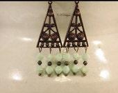 Green Czech Glass Beaded Earrings, Green and Brass Dangle Pierced Earrings. OOAK Handmade Earrings. CKDesigns.US