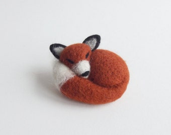 Sleepy Little Red Fox, Felted Animal, Fox Jewelry