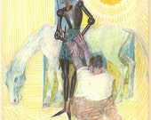Illustration of Don Quixote by Candido Portinari, Vintage Art Print,  Colored Pencil Drawing