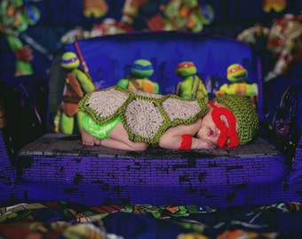 Hand Crocheted Infant Ninja Turtle Costume for photo prop