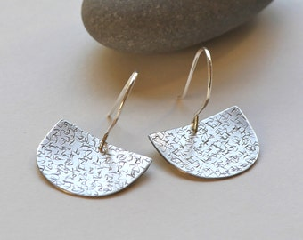 Silver half moon earrings - Asian inspired textured silver earrings -  scribble art earrings