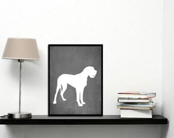 Modern Great Dane Art Print, Chalkboard, Great Dane Silhouette, Dog lover Gift