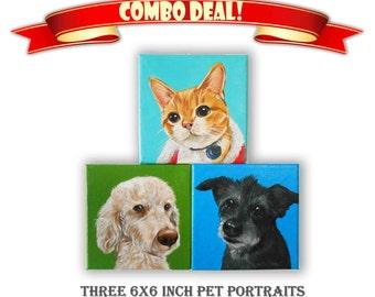 """Set of 3 Custom Pet Portrait, Acrylic Custom Dog Portrait, Custom Cat Portrait 1 to 3 Pets Close-Up Solid background (6x6x0.75"""" or 8x8x1.5"""")"""