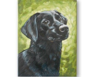 "9x12x0.75"" Custom Dog/Pet Portrait - 1 Pet, Paint Stroke Gradient Background, acrylic Painting on  Canvas Memorial Labrador Retriever"