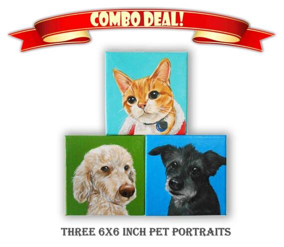 "Set of 3 Custom Pet Portrait, Acrylic Dog & Cat Portrait, 3 Pets Close-Up Solid background (6x6x0.75"" or 8x8x1.5"")"