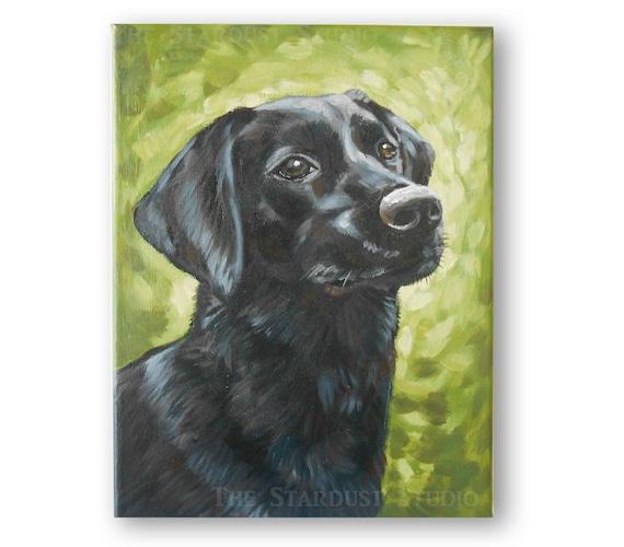 "9x12x0.75"" Custom Dog/Pet Portrait - 1 Pet, Paint Stroke Gradient Background, acrylic Painting on  Canvas Memorial Labrador Retriever"