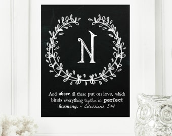 """Instant """"Family Monogram Scripture"""" Chalkboard Wall Art Print 11x14 Typography Letter """"N"""" Printable Home Decor"""