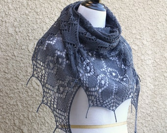 Knit shawl, lace shawl, lace wrap with beads in grey steel gray color, wedding shawl