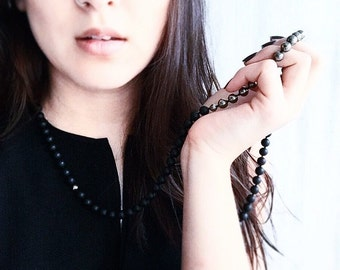 Hand-knotted Frosted Matte Black Onyx and Pyrite Necklace