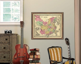 Vintage map of China Print - Wall map - Archival print