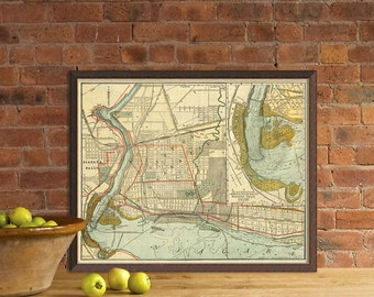 Niagara Falls map - Map of Niagara Falls  - Old city map print