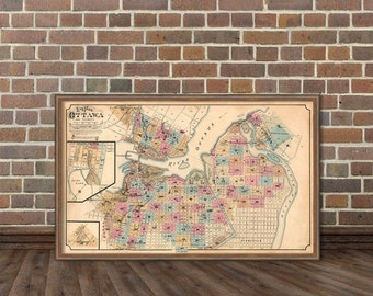 Vintage map of Ottawa  (Canada)  - Historic maps - Plan of Ottawa and its vicinity  - Fine reproduction