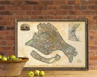 Map of Venice - Wonderful vintage map - Archival print of Venice map