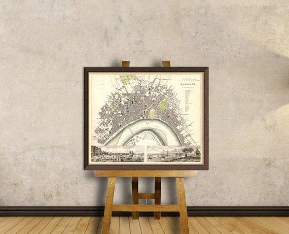 Bordeaux map - Old city map print - Map of Bordeaux -  Historic map archival reproduction
