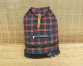 Vintage Plaid Red And Blue Canvas Bag Drawstring Backpack Leather Straps