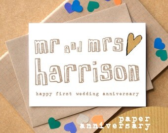 First Anniversary Card - Paper Wedding Anniversary Card - Personalised Mr and Mrs Anniversary Card - Mr and Mr Card - Mrs and Mrs Card