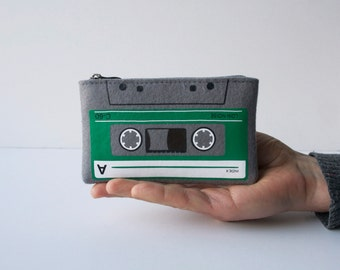 Compact Cassette Felt Zip Pouch Grey and Green