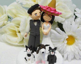 Custom Cake Topper- Mr French & Mrs Mexican