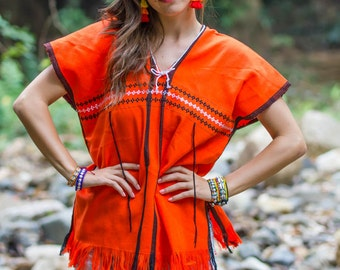 Karen Shirt(Orange)/Hippie /Boho/Whole sale/Tunic Shirt