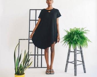 Half Moon Dress -- Black Terry