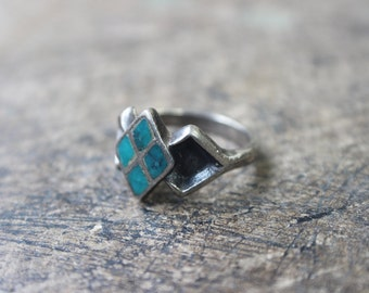 Sterling RING / Southwest Turquoise Jewelry / Size 8 Ring