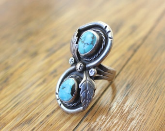 Turquoise Feather RING / Vintage Southwest Jewelry / Sterling Silver Size 6 Ring