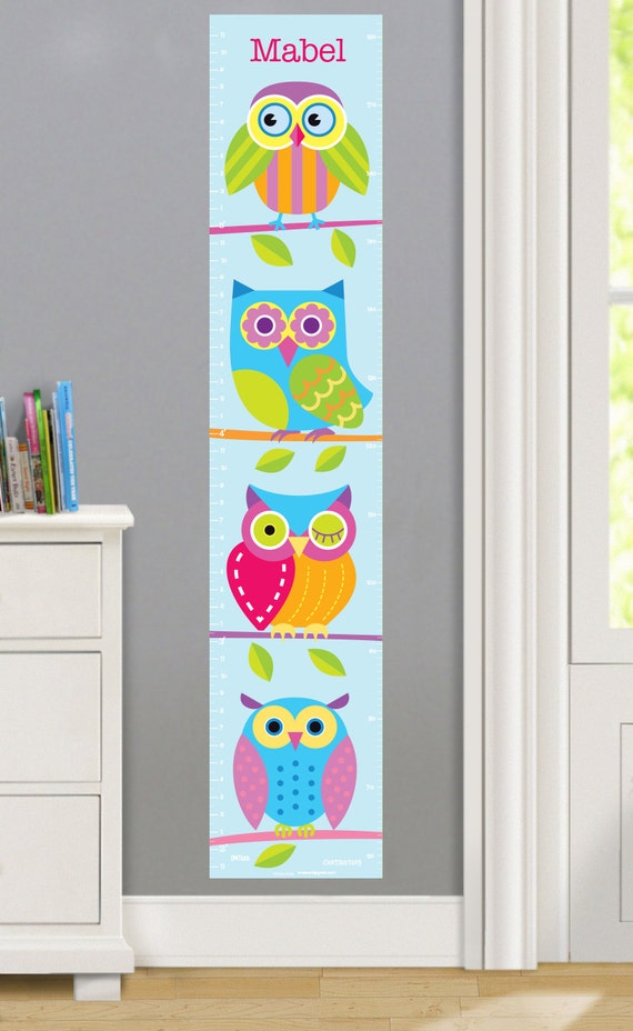Kids Personalized Owls Wall Decal Growth Chart, Children's Bedroom Decor, Kids Wall Art, Peel and Stick, Reposition-able, Woven Polyester