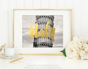 Italy Print, Leaning Tower of Pisa Print, Italy Art, Gold Italy Print, Faux Gold Foil, Italy Photograph, Destination Wedding, Travel Print