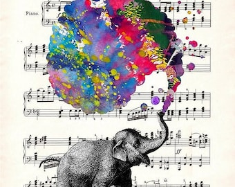 ELEPHANT RICHARD WAGNER Art Giclee Print Art Poster Watercolor Wall Decor Mixed Media Digital Gift