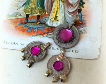 Kuchi Coin with Pink Glass Kuchi Jewelry Pink Kuchi Coin Charms Tribal Coin Jewelry Kuchi Jewelry DIY Kuchi Necklace Kuchi Coin Earring Pink