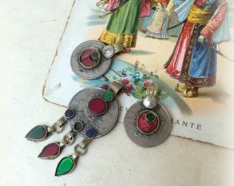 Kuchi Coin with Green Glass Kuchi Jewelry Kuchi Coin Charms Bohemian Jewelry DIY Kuchi Necklace Kuchi Coin Earrings Gypsy Jewelry Green Pink