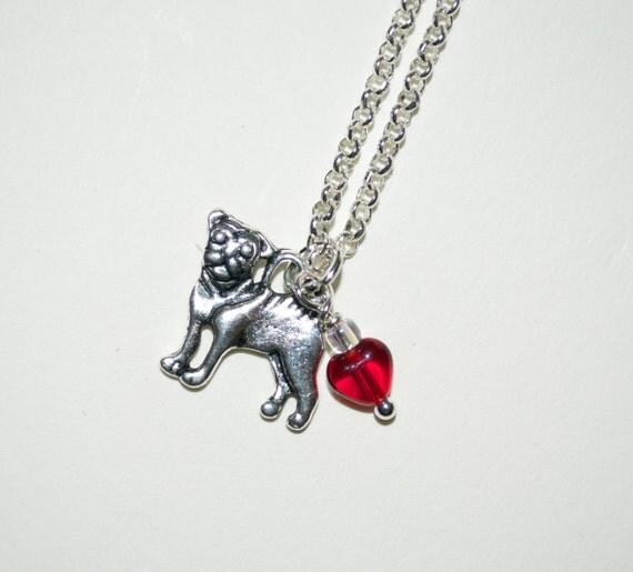 Pug Necklace, Pug Dog Necklace, Tiny Dog Charm Pendant, Silver Pug Pendant, Pug Charm, I Love Pugs, Pug Jewelry, Pug Dog Jewelry, Pug Lover