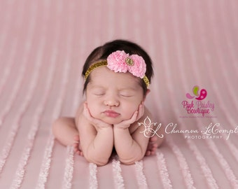 Pink & Gold Baby Headband, Gold Baby Headband, Pink and Gold 1st Birthday Bow, Sparkle Baby Headband, Pink Baby Bows, Baby Girl Hair Bows