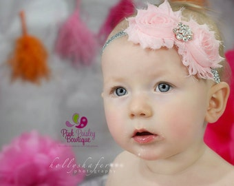 Pink silver  Baby Headband - Baby Girl Headbands - Baby Hair Accessories - Infant Headband. Baby Bows. Baby Hair bows. Sparkle Headband