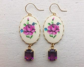 Flower Earrings/Purple Flower Earrings/Purple Earrings/Bridesmaid Earrings/Purple Rhinestone Earrings/Amethyst Earrings/Mother's Day Gift