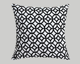 "Decorative Pillow Case, White Decorative fabric Throw pillow case with Black patterns, fits 18""x18"" insert, Toss pillow case"