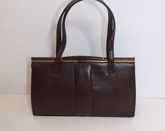 Vintage 50s real brown lizard reptile skin leather grab kelly handbag bag suede lined