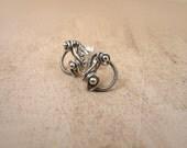 Small sterling silver stud, silver earrings, wire wrapped earrings, little minimal earrings for her, silver drop earrings